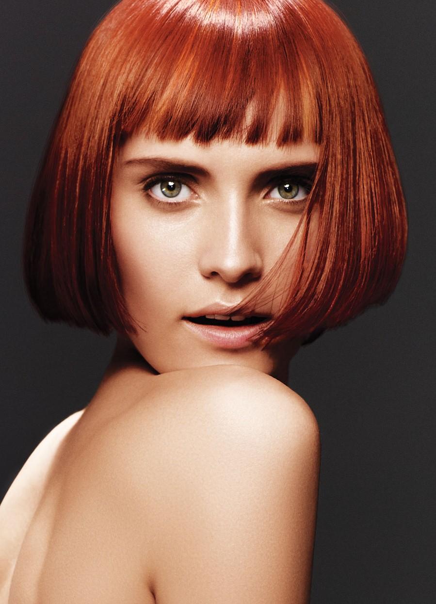 Градуированное каре на рыжие волосы