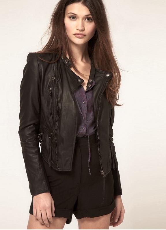 Кожаные куртки женские осень с мехом