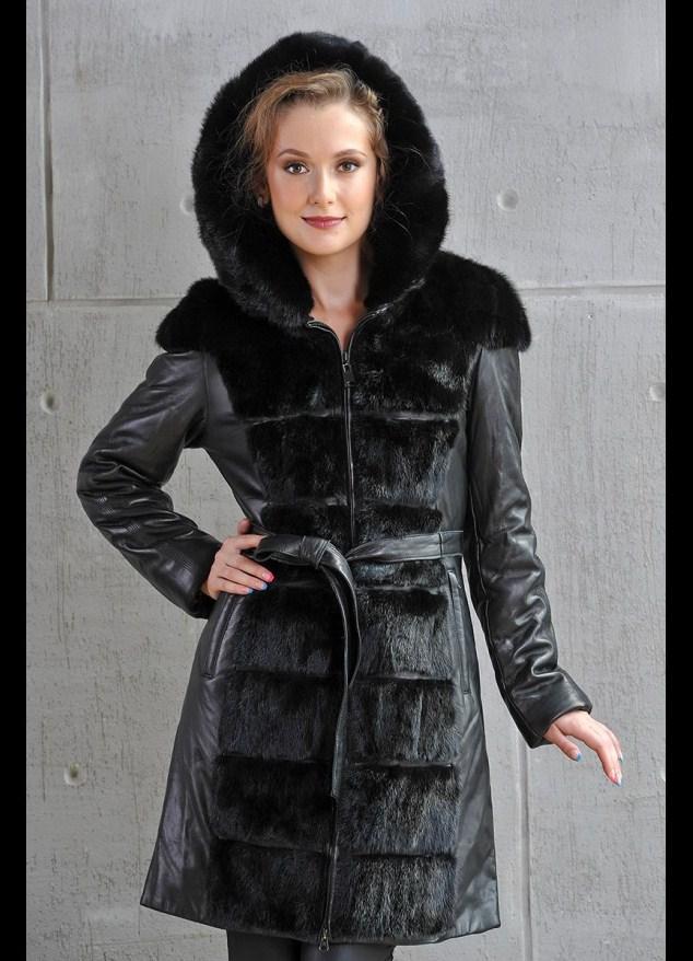 Женское кожаное пальто на меху зима