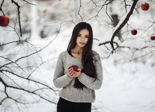 Фотосессии зимой на улице в платье