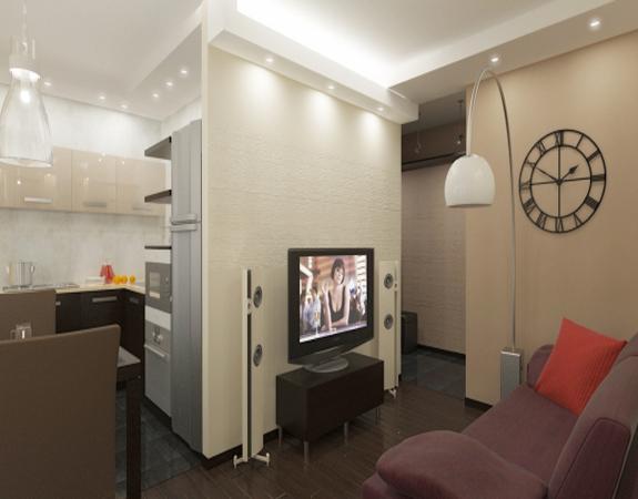 Малогабаритная кухня совмещенная с залом в хрущевке дизайн