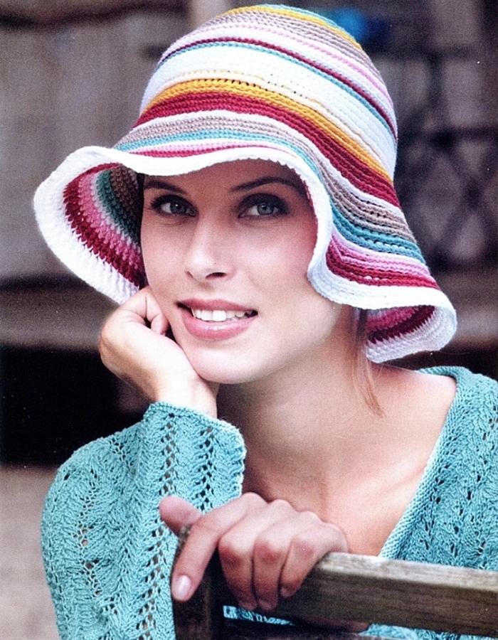 Вязанные летние шляпки