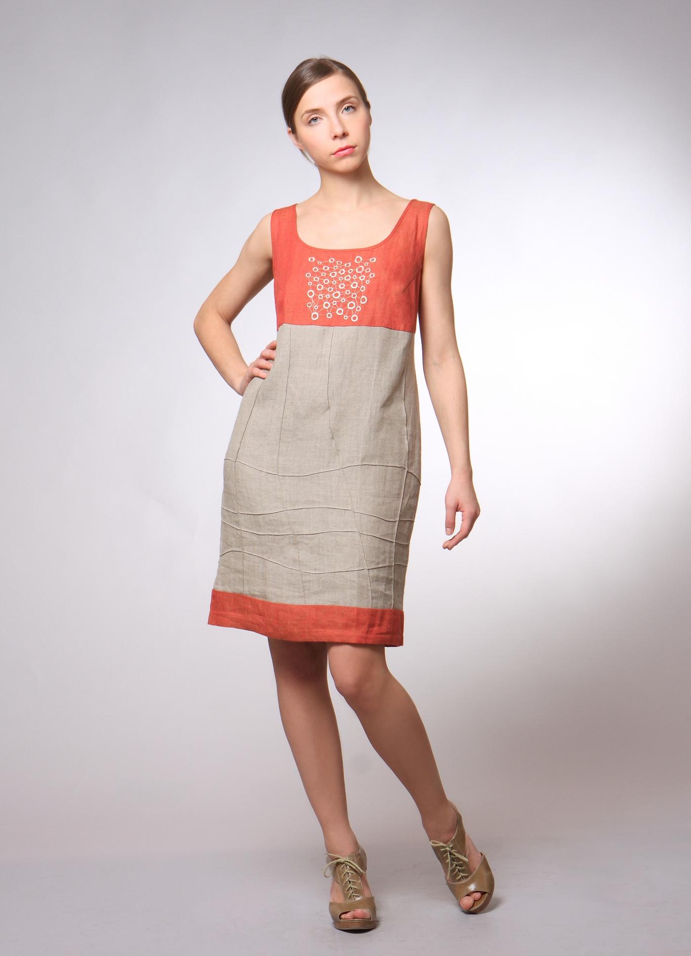 Цветовые решения для платья из льна 2013