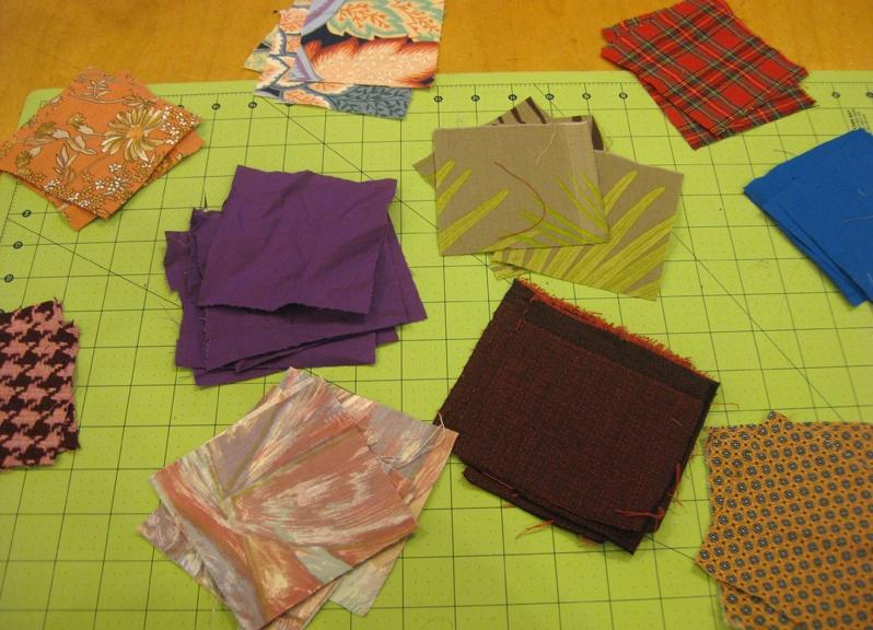 Как сшить квадраты ткани
