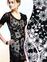 Черное платье вязаное спицами