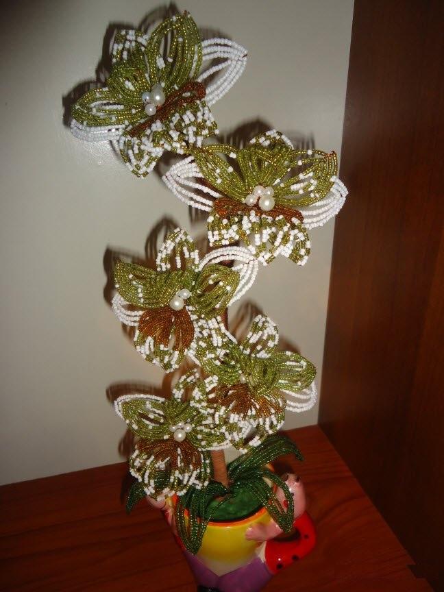 Орхидея из бисера - мастер-класс