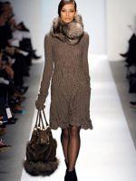 Шерстяное платье с длинным рукавом