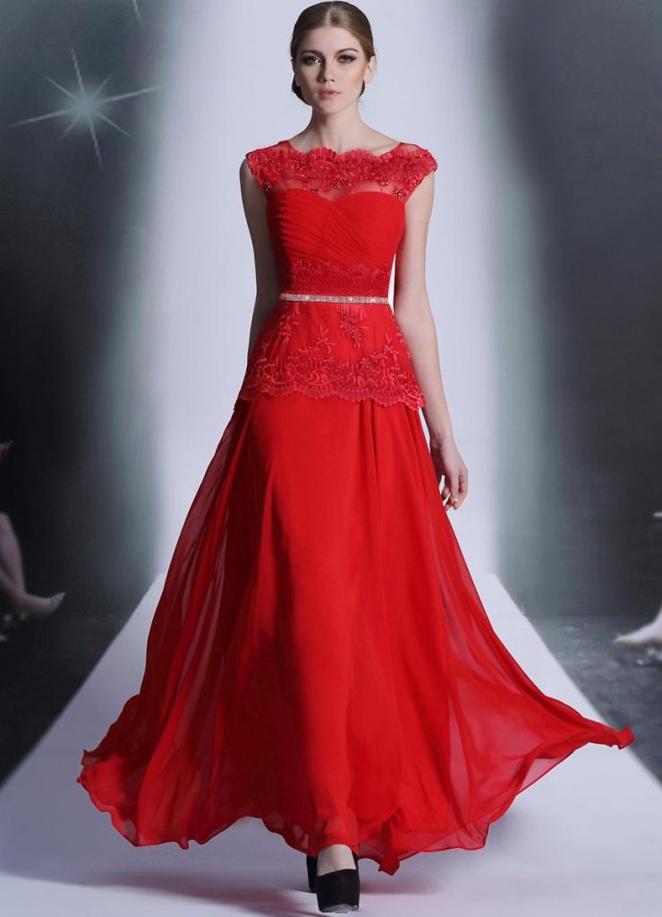 Платья в красном цвете в пол