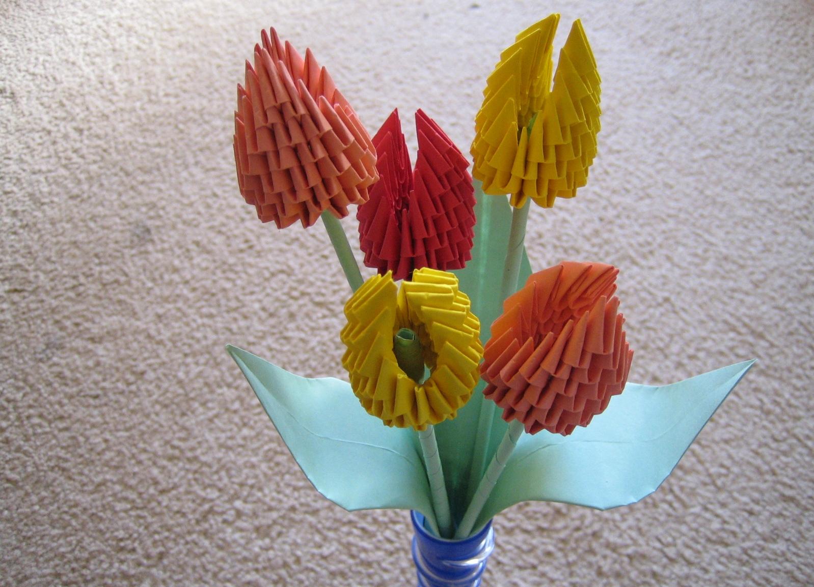 Модульное оригами цветы схема сборки тюльпана