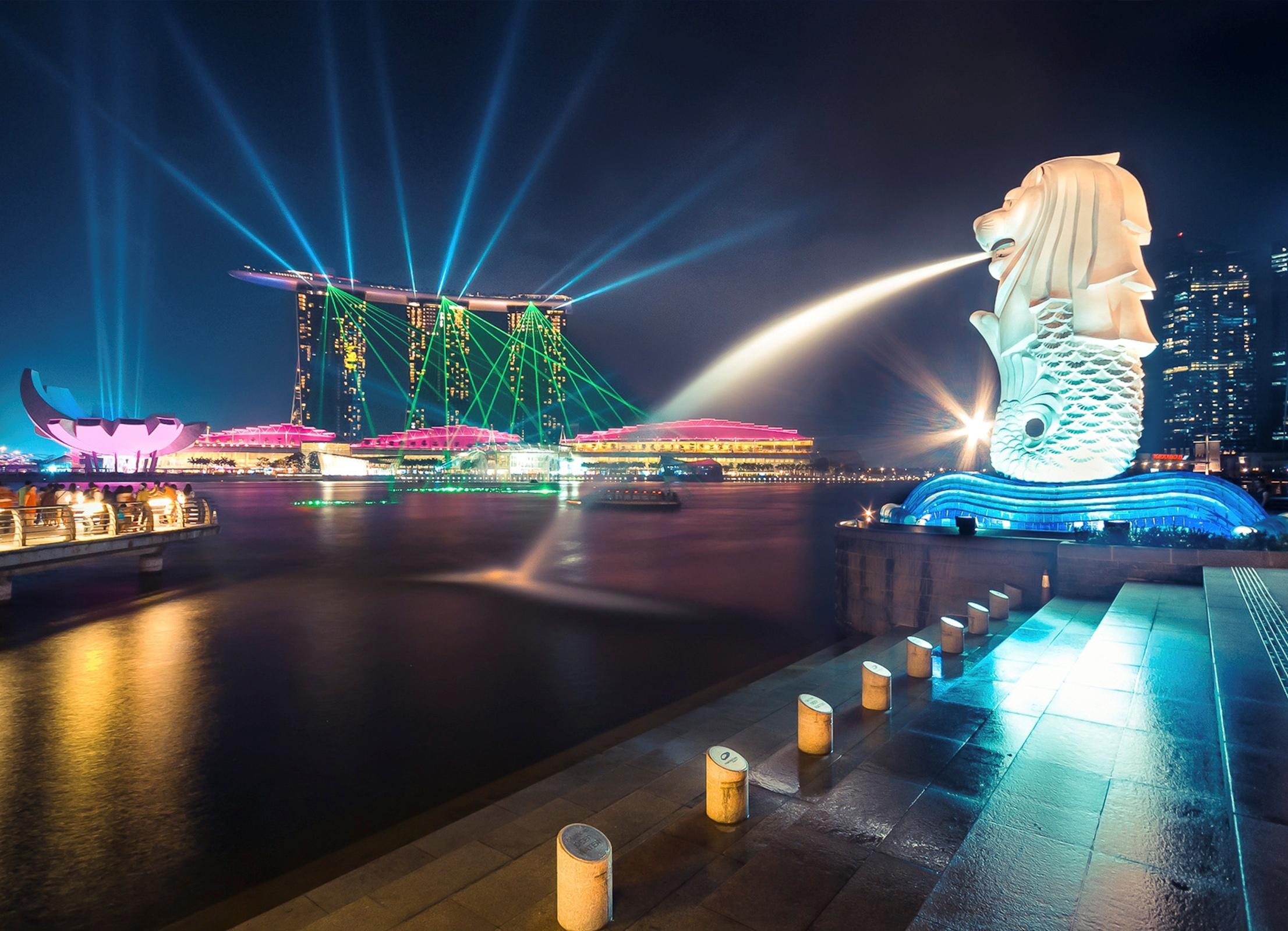 страны архитектура Сингапур ночь  № 1476110 без смс