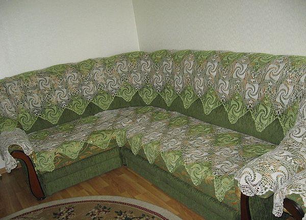 Вязание крючком накидок на диваны