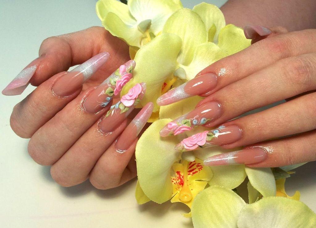 Фото по наращиванию ногтей и акриловый дизайн