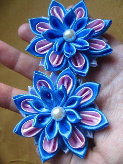Цветок из лент на заколку своими руками