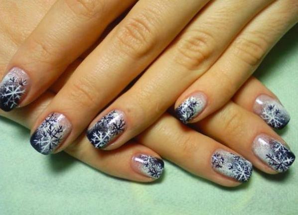 Зимний дизайн ногти фото