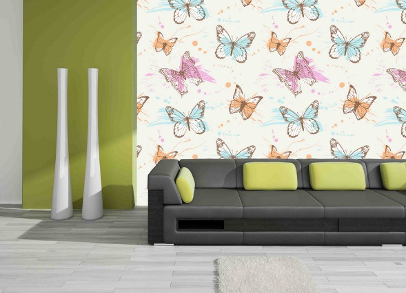 Интерьер с обоями бабочки