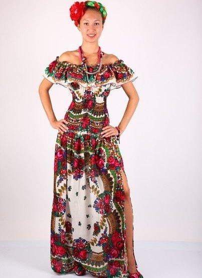Платье с матрешками фото