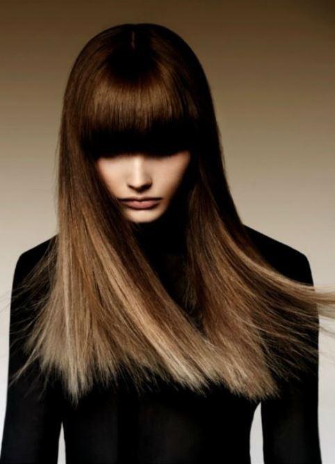 Амбре окрашивание волос с челкой фото