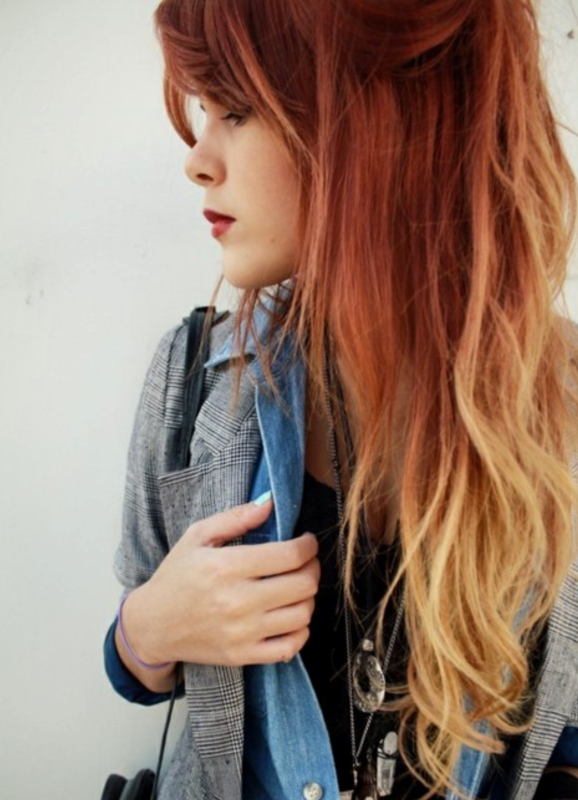 омбре фото на рыжих волосах