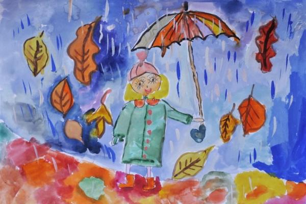Детские осенние картинки листопад с дождем