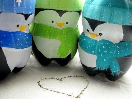 пингвины из пластиковых бутылок 1