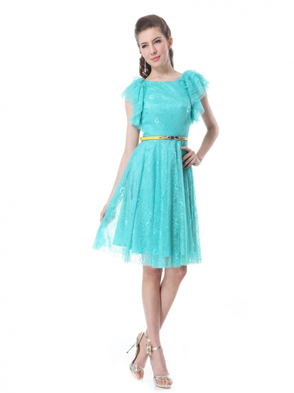 Бирюзовое кружевное платья