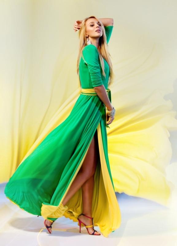 Платье халат желтый