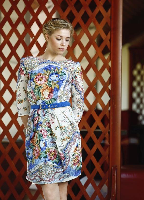 Платье из платков павлопосадских сшить