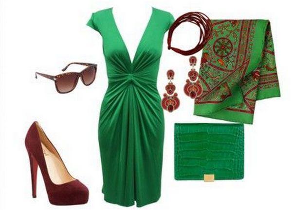 С какой обувью носить зеленое цветное платье