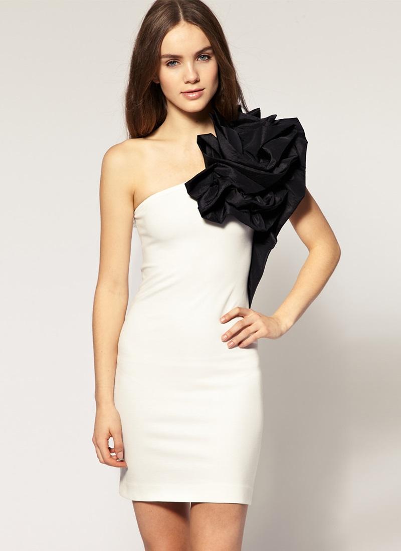 Платья с одним плечом фото короткие