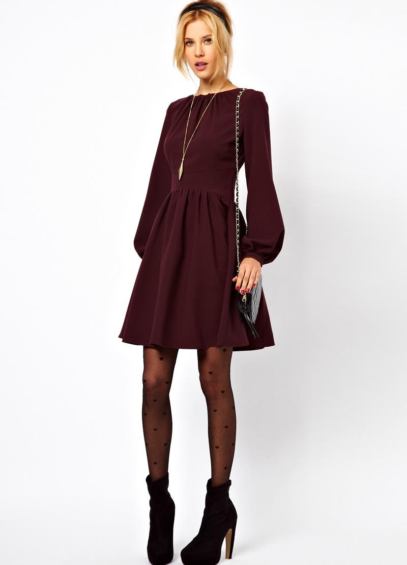Платье с рукавом длинным фонарик