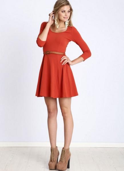 Платье с юбкой солнце красное