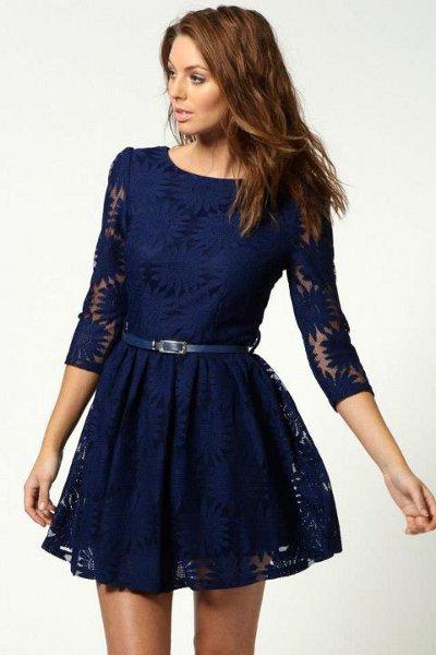 Деловые темно синие платья