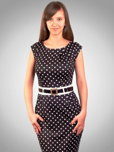 Платье карамельное в белый горошек - фото 4657. . Хит. . Платье Платье темно-синее длины мини с юбкой в горох