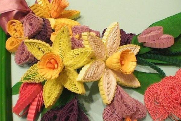Картины из гофрированного картона цветы