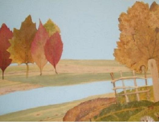 Картины из сухих листьев и цветов 66