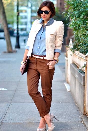 Что носить с жакетом в стиле шанель