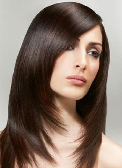 стрижка косая челка на длинные волосы фото