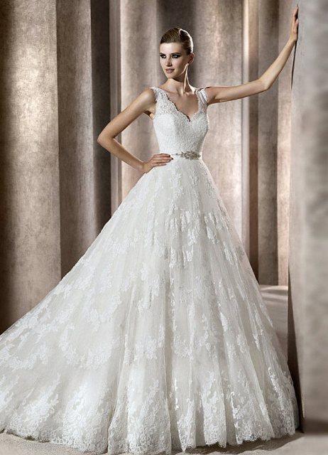 Свадебные пышные платья с бретельками