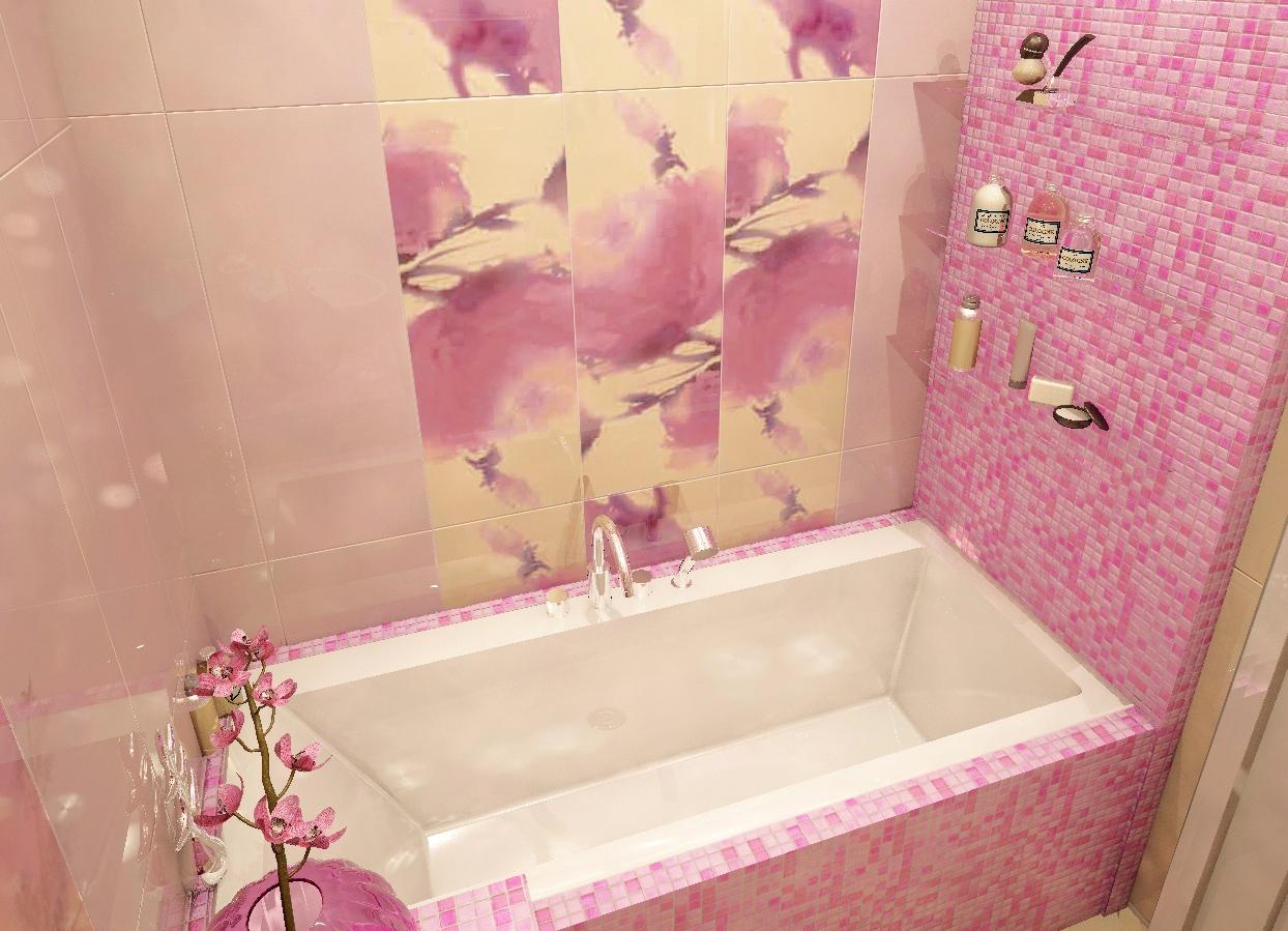 Фото ванных комнат розовых цветов