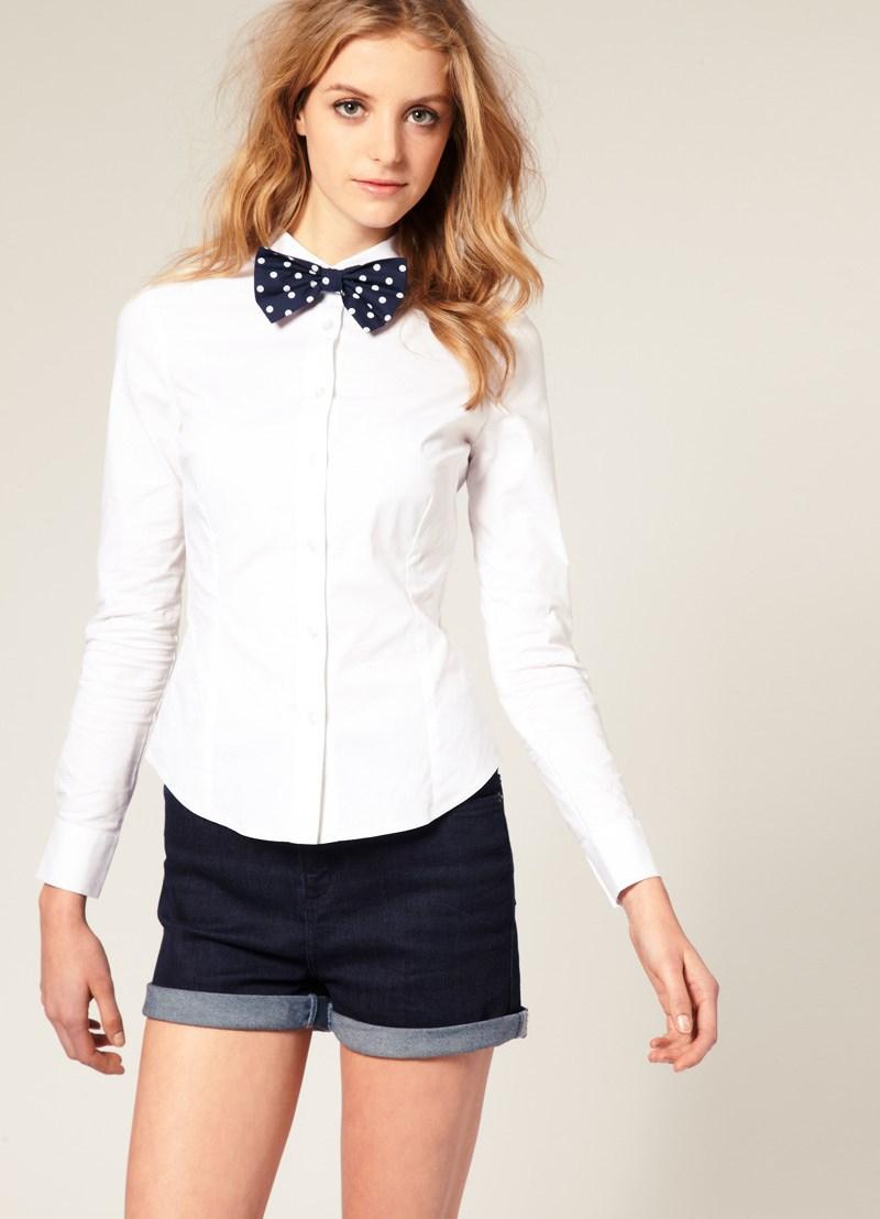 Блузка Белая Галстуком