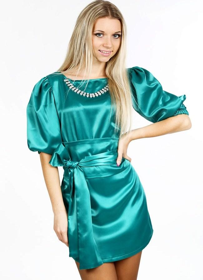 Платье рукав фонарик в горошек