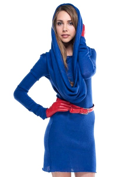 Платье синее с красным поясом