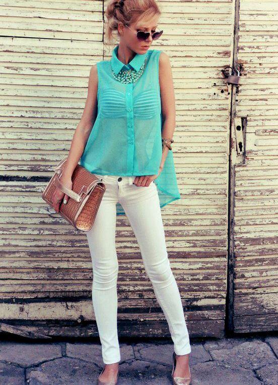 Что надеть к белым джинсам