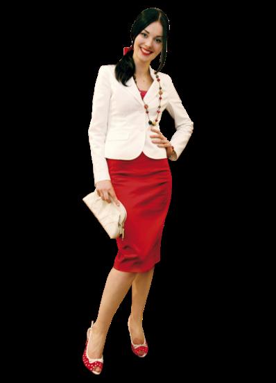 Красная юбка и белый пиджак