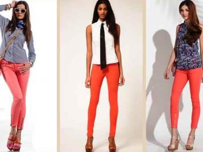 Что можно одеть с коралловыми брюками
