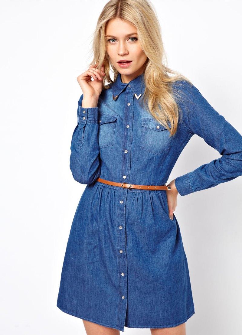С чем можно одеть джинсовое платье