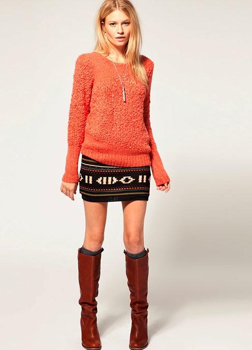 Что одеть с вязаной юбкой