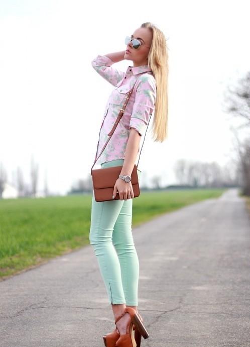 С чем носить брюки цвета мяты