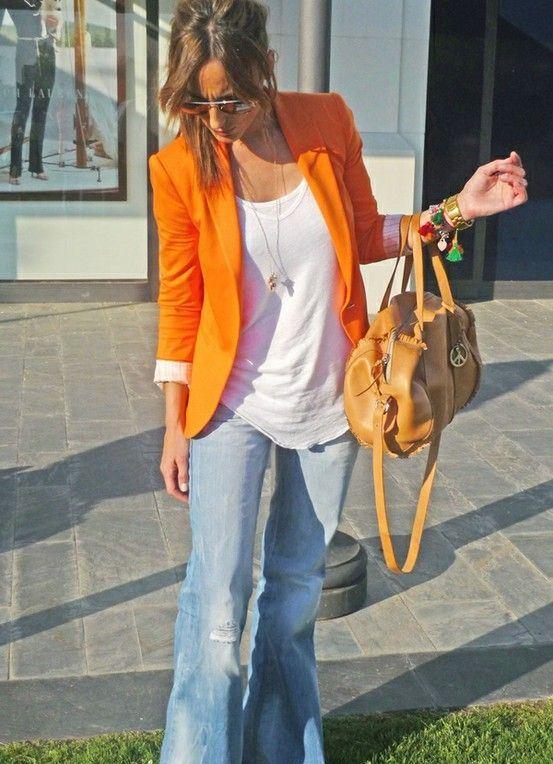 С чем носить пиджак оранжевый