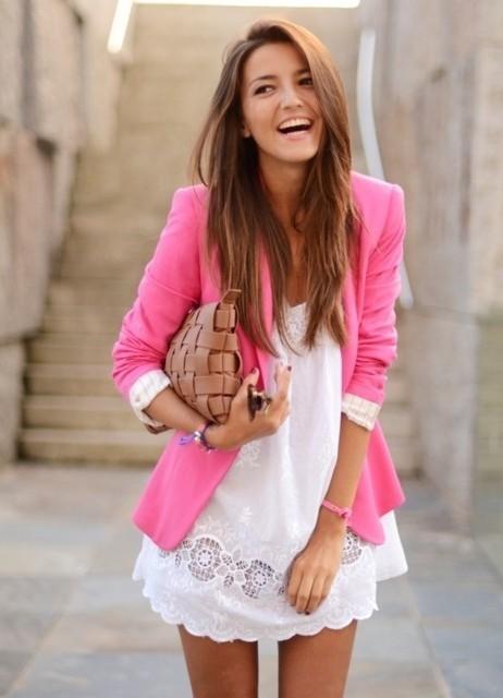розовый пиджак с чем носить фото